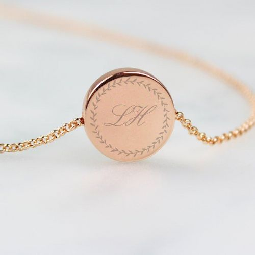 Wreath Initials Rose Gold Tone Disc Necklace